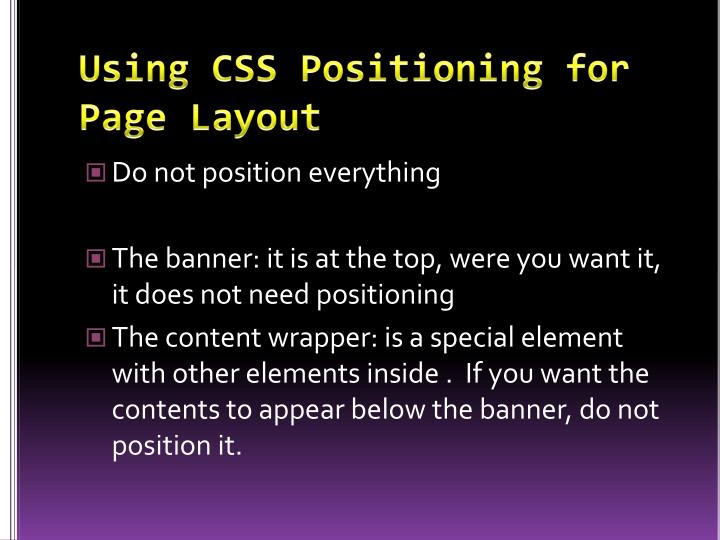 Using CSS Positioning for Page Layout