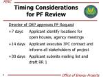 timing considerations for pf review