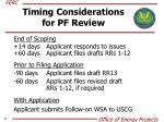 timing considerations for pf review1