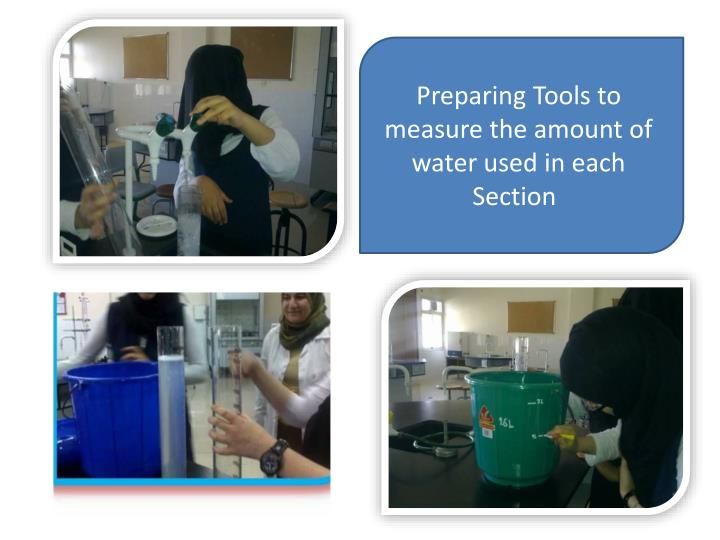 Preparing Tools to measure the amount of water used in each Section