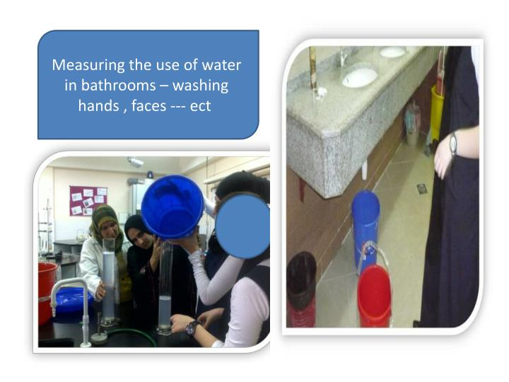 Measuring the use of water in bathrooms – washing hands , faces ---
