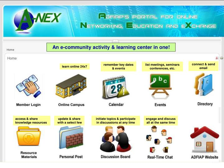 An e-community activity & learning center in one!