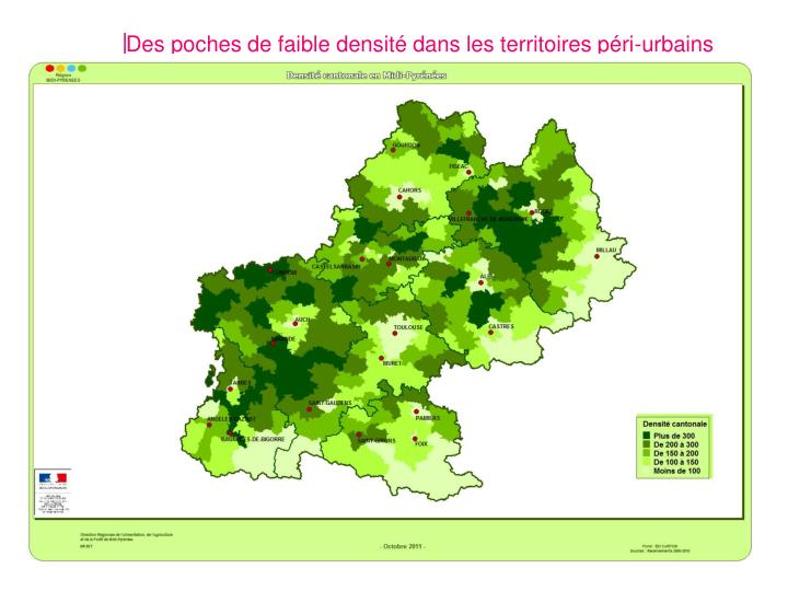 Des poches de faible densité dans les territoires péri-urbains