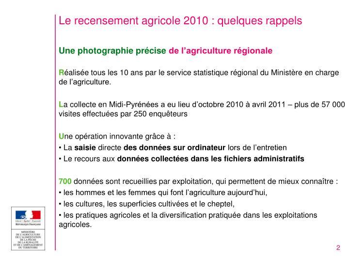 Le recensement agricole 2010 quelques rappels