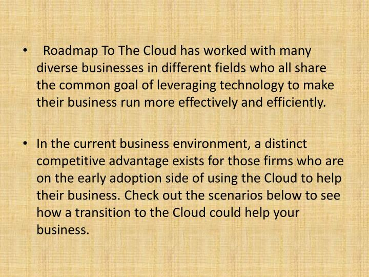 Roadmap To The Cloud has worked with many diverse businesses in different fields who all share the common goal of leveraging technology to make their business run more effectively and efficiently.