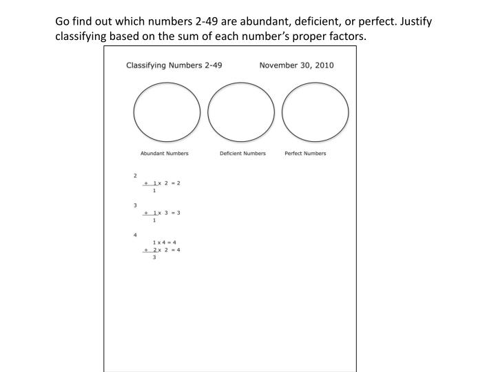 Go find out which numbers 2-49 are abundant, deficient, or perfect. Justify classifying based on the sum of each number's proper factors.