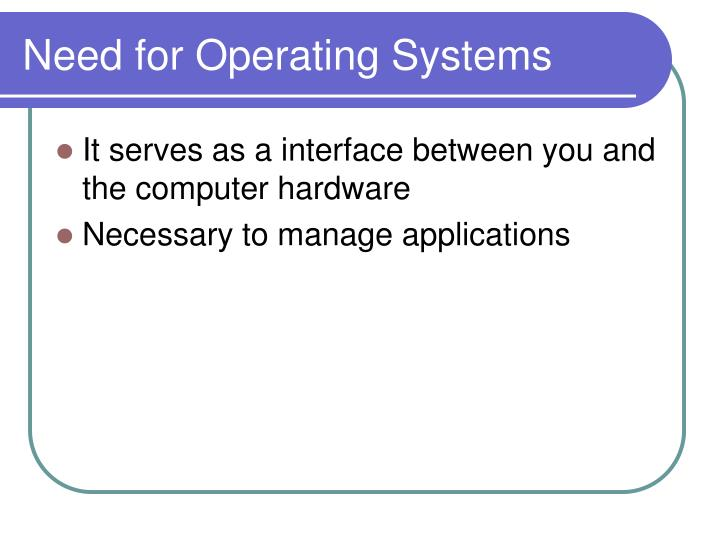 Need for operating systems