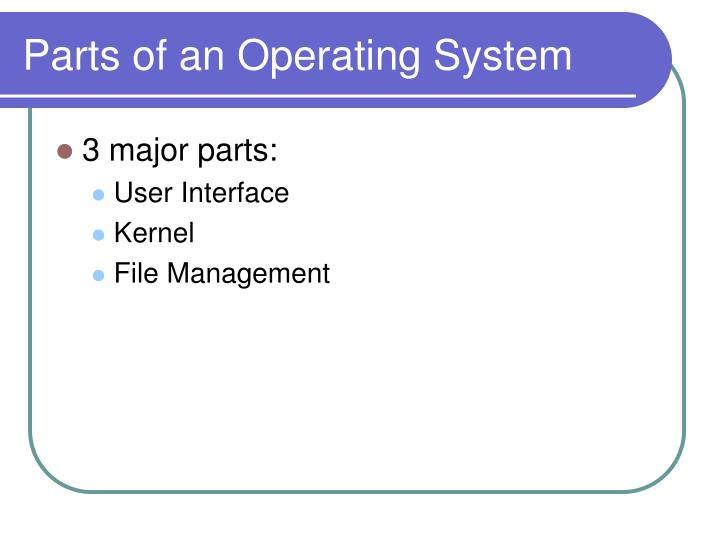 Parts of an operating system