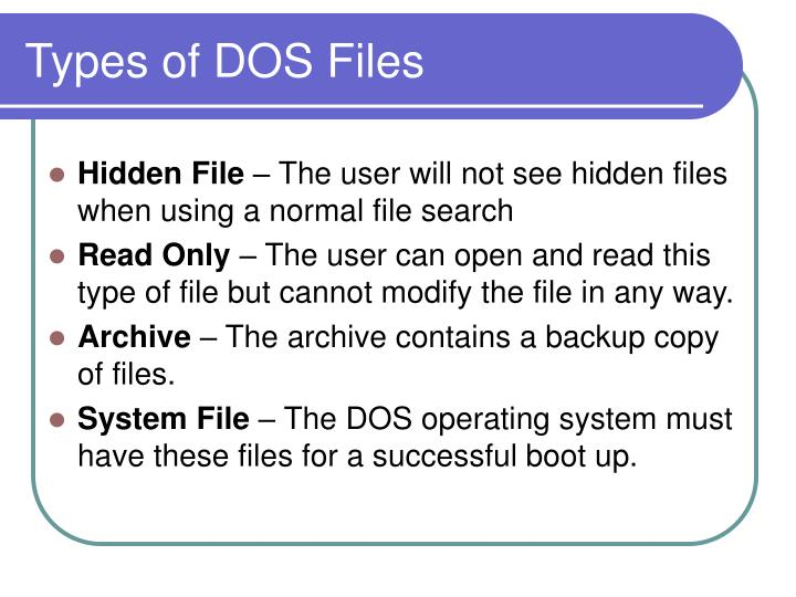 Types of DOS Files
