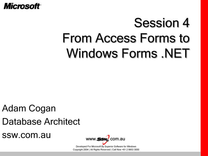 session 4 from access forms to windows forms net n.