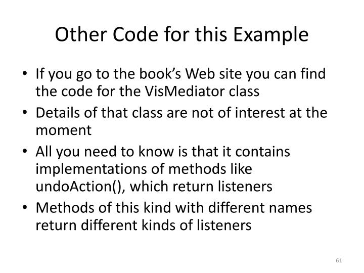 Other Code for this Example