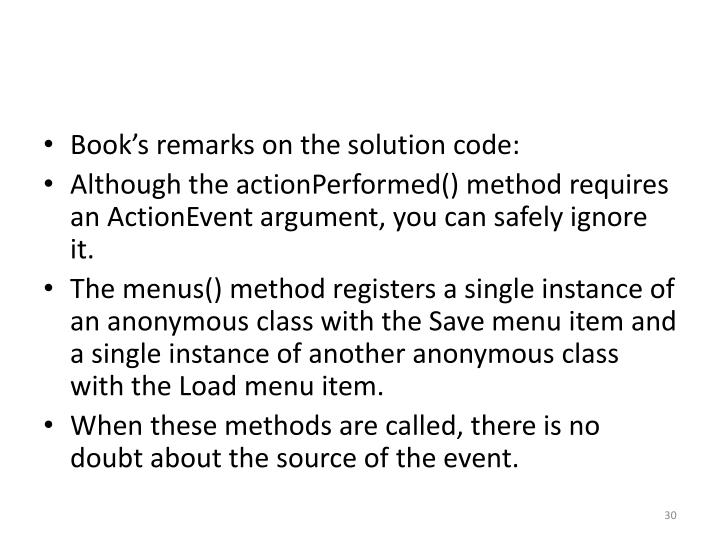 Book's remarks on the solution code: