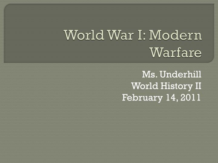 world war i modern warfare n.
