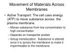 movement of materials across membranes1