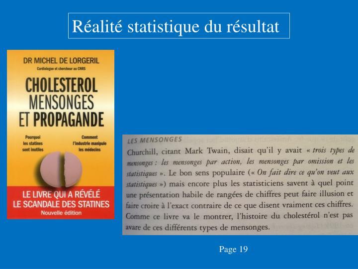 Réalité statistique du résultat