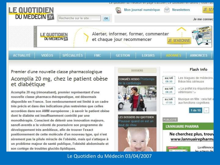 Le Quotidien du Médecin 03/04/2007