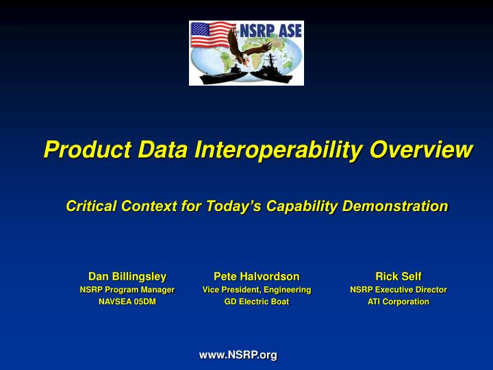 product data interoperability overview critical context for today s capability demonstration n.