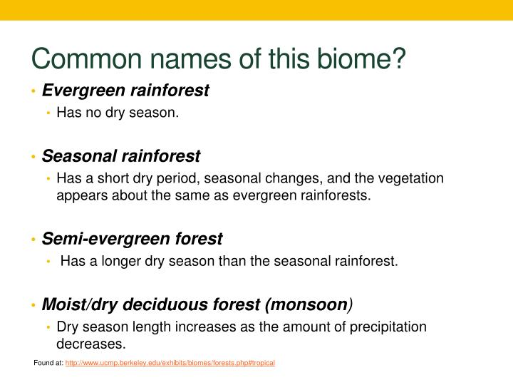 Common names of this biome