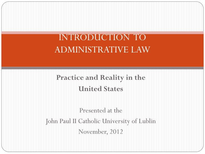 introduction to administrative law n.