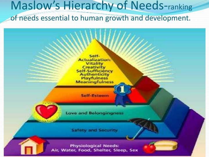 Maslow s hierarchy of needs ranking of needs essential to human growth and development