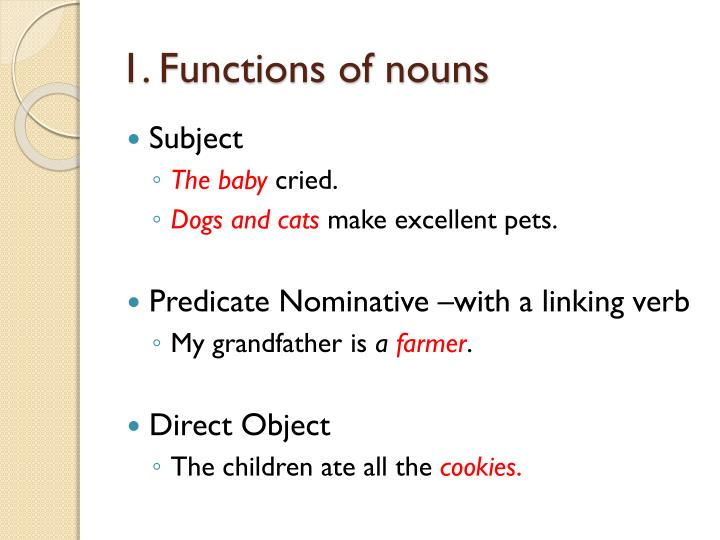 1 functions of nouns
