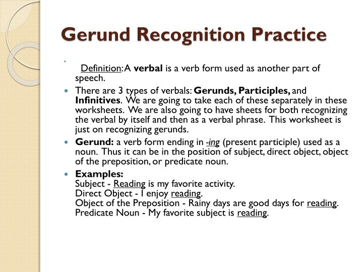 Gerund Recognition Practice