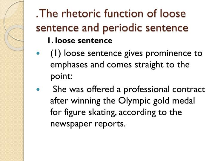 . The rhetoric function of loose sentence and periodic sentence