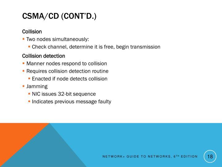 CSMA/CD (cont'd.)