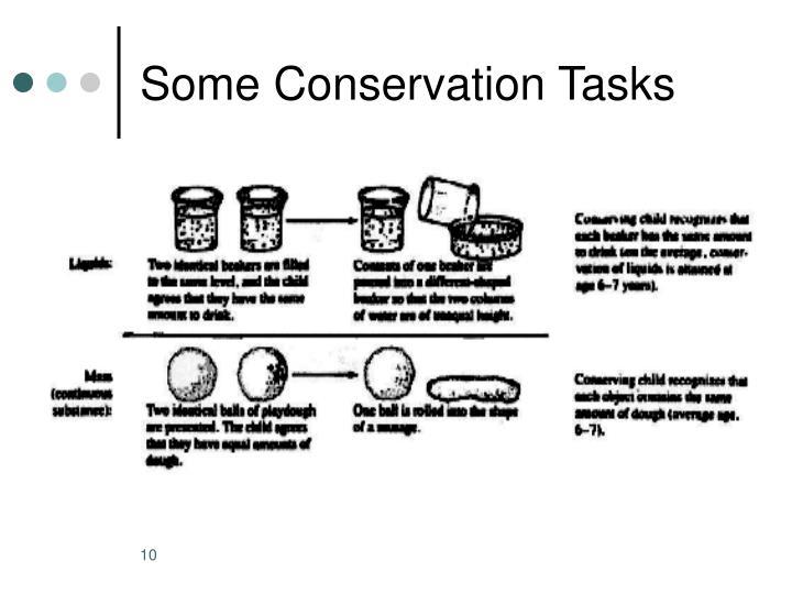 Some Conservation Tasks