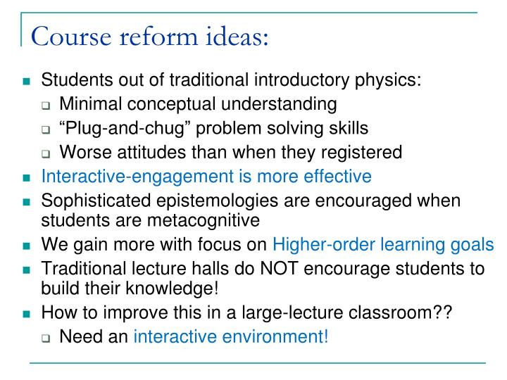 Course reform ideas: