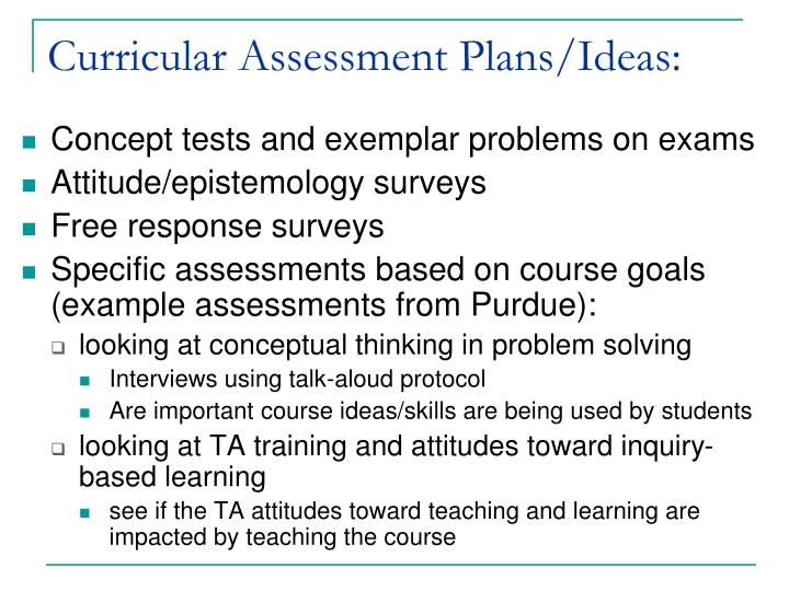 Curricular Assessment Plans/Ideas: