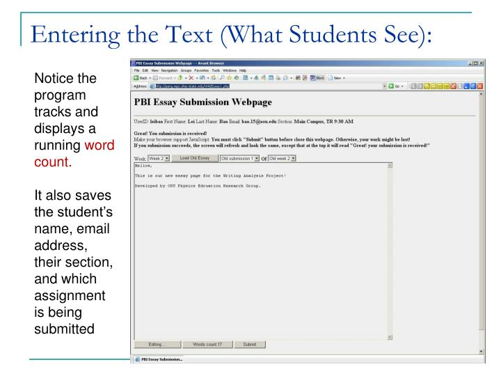 Entering the Text (What Students See):