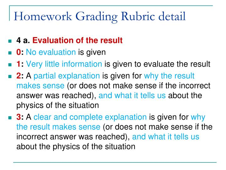 Homework Grading Rubric detail