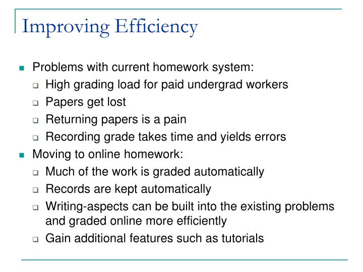 Improving Efficiency