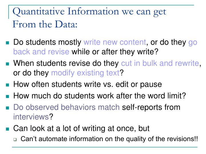 Quantitative Information we can get  From the Data: