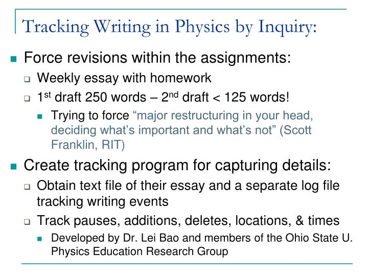Tracking Writing in Physics by Inquiry: