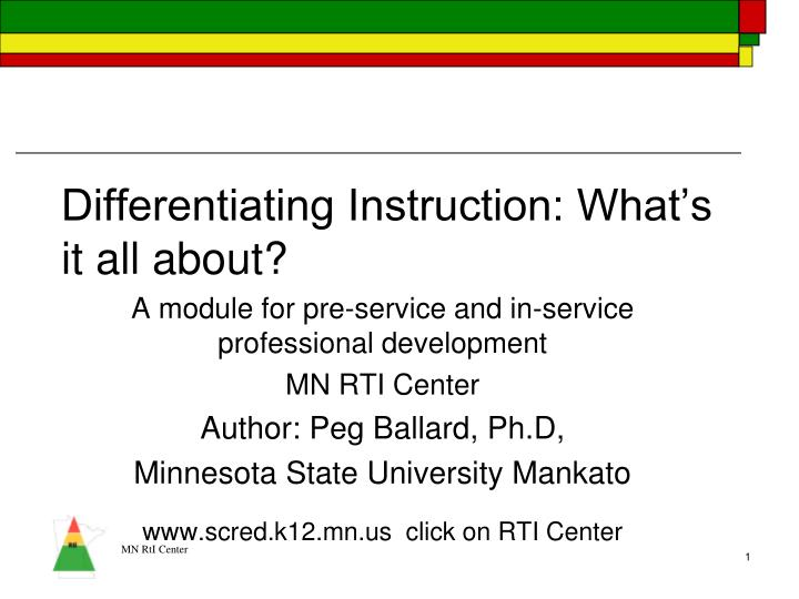 differentiating instruction what s it all about n.