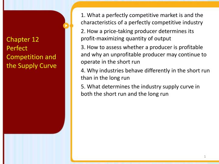 characteristics of a perfectly competitive industry