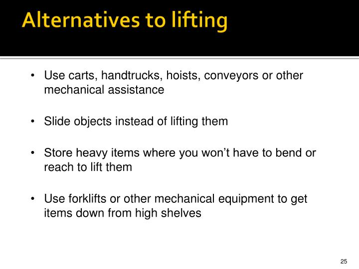 Alternatives to lifting