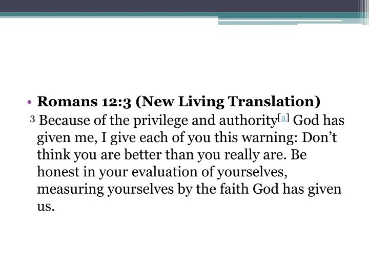 Romans 12:3(New Living Translation)