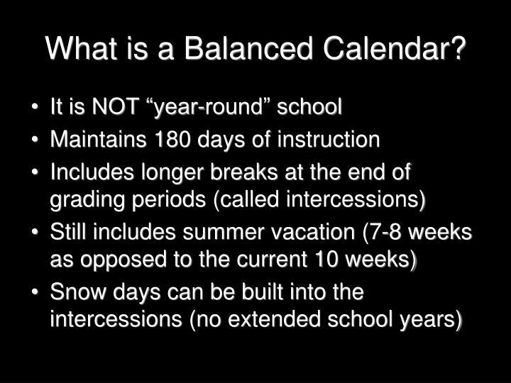 What is a Balanced Calendar?