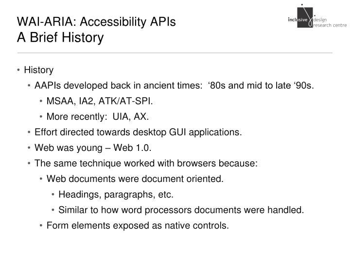 WAI-ARIA: Accessibility APIs