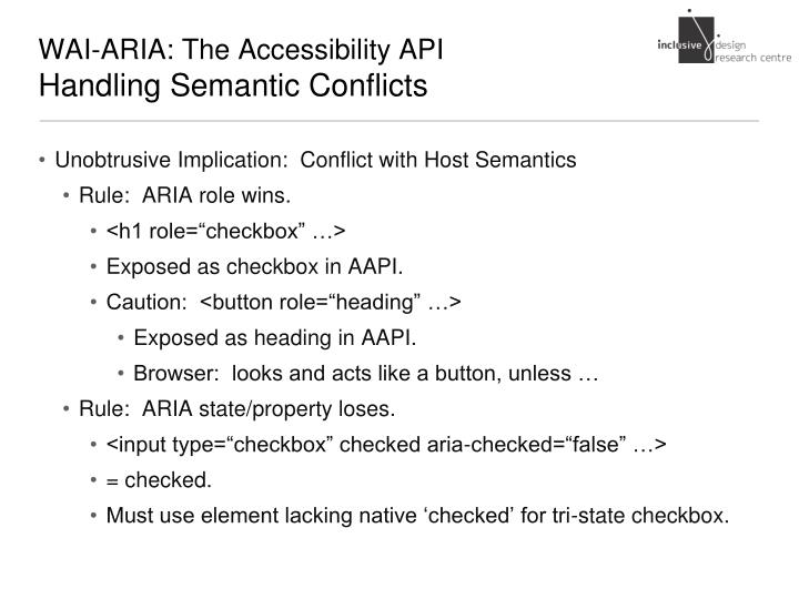 WAI-ARIA: The Accessibility API