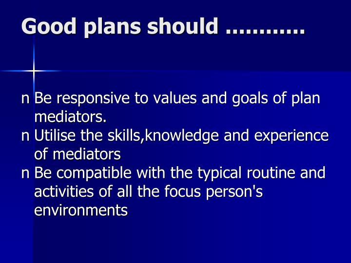 Good plans should ............