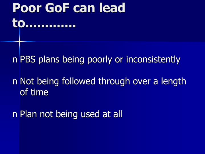 Poor GoF can lead to.............