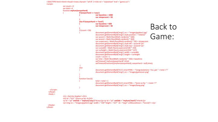 Back to Game: