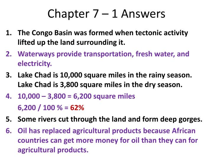 Chapter 7 – 1 Answers