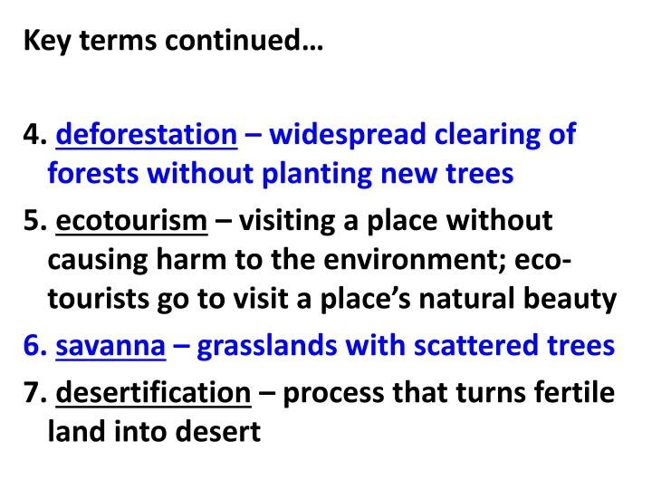 Key terms continued…