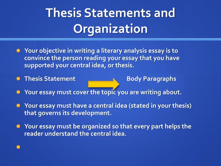 organization of thesis statement