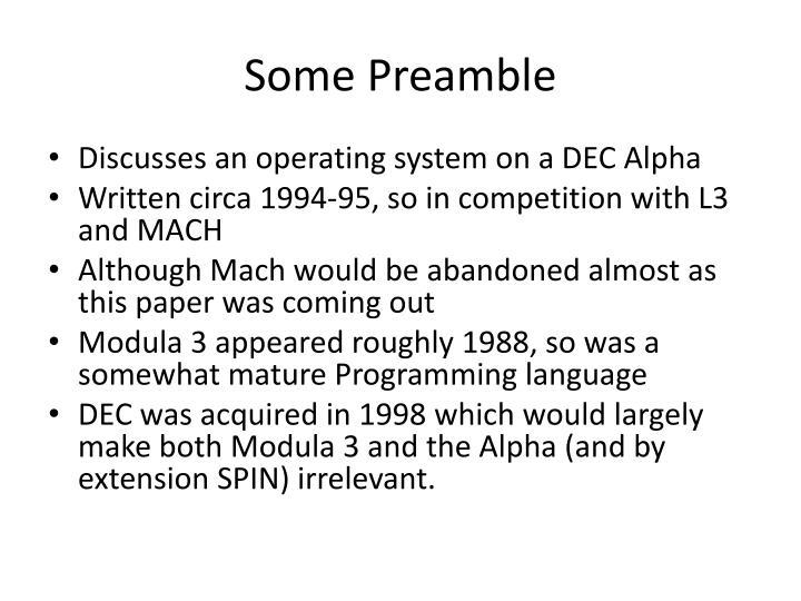 Some preamble